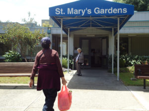 Residents at St. Mary's Gardens make frequent walking trips back and forth to the Chinatown markets nearby. Parties, dances, and exercise classes also keep seniors active at the community near Oakland's Old City. By Diana Alonzo.