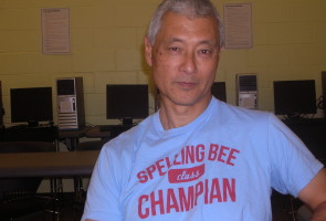 Serial Entrepreneur Boku Kodama in one of the humorous t-shirts he often wears to class