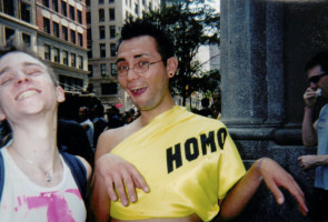 Edward and friend Matthew, an Oakland native, at Gay Pride in New York City, 2001.