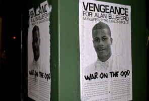 "Increasing anger and frustration displayed on posters calling for ""war on the OPD.""  E. Cervantes, Oakland Voices 2012."