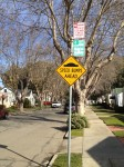 These signs along my block are the result of community organizing. A few years ago, several neighbors started a petition to install a speed bump to help cut down speeding, and parking limits to prevent commuters from turning this street into an all-day parking lot. Katherine Brown - Oakland Voices.