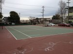 This is the tennis court located at Concordia Park. In this picture, the netting is not up, but folks will have tennis matches here. Or you may find little ones riding their bikes and tricycles - which is a safer than the neighboring streets that have busy traffic. Katherine Brown - Oakland Voices.