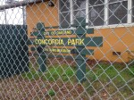 Concordia Park is located across from Frick Middle School. Unity High School, a charter school located a block away, uses this space for PE. Girls, Inc. also has an office here, and there are several raised beds where community gardening occurs. Katherine Brown - Oakland Voices.