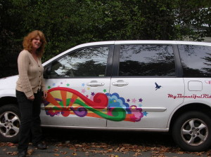 Terry Cullinane and the My Beautiful Ride car with colorful design Oakland Voices/Debora Gordon December 2012