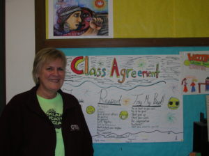 Former Oakland Education Association President and current Sequoia Elementary School teacher Betty Olson-Jones poses in her 5th grade classroom Photo: Oakland Voices/Debora Gordon January 2013