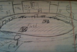 Lam included this sketch of the inmate exercise yard in his last letter. Oakland Voices/Debora Gordon March 2013