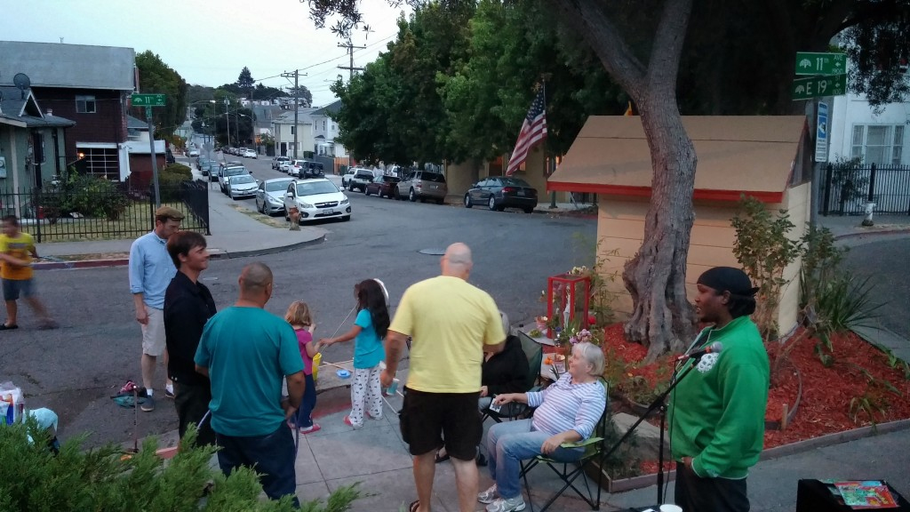 Gathering to chat with neighbors