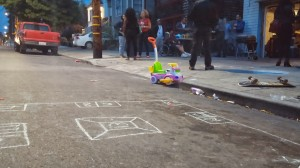 chalk games are laid out for family fun at the 9th Ave. BBQ