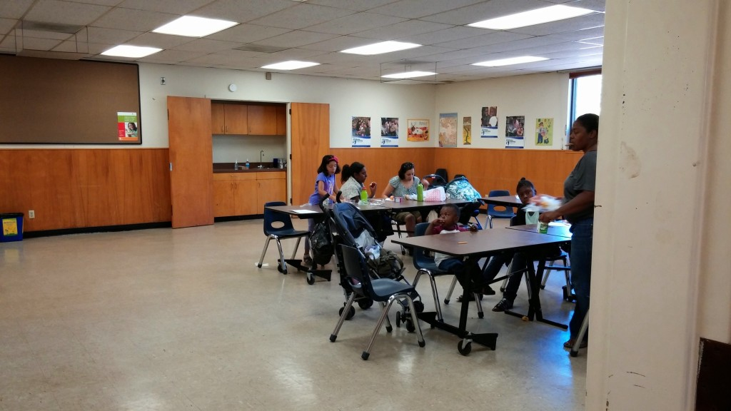 The last few families finish up their lunches at Dimond Library