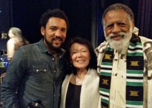 Darryl, Karen and Arnold celebrating Kwanzaa