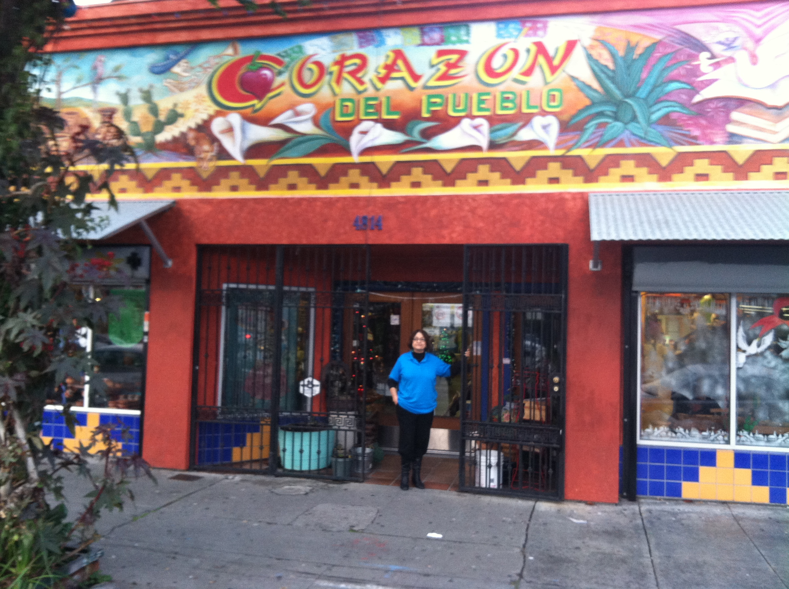 Josefina Lopez in the doorway of Corazon del Pueblo