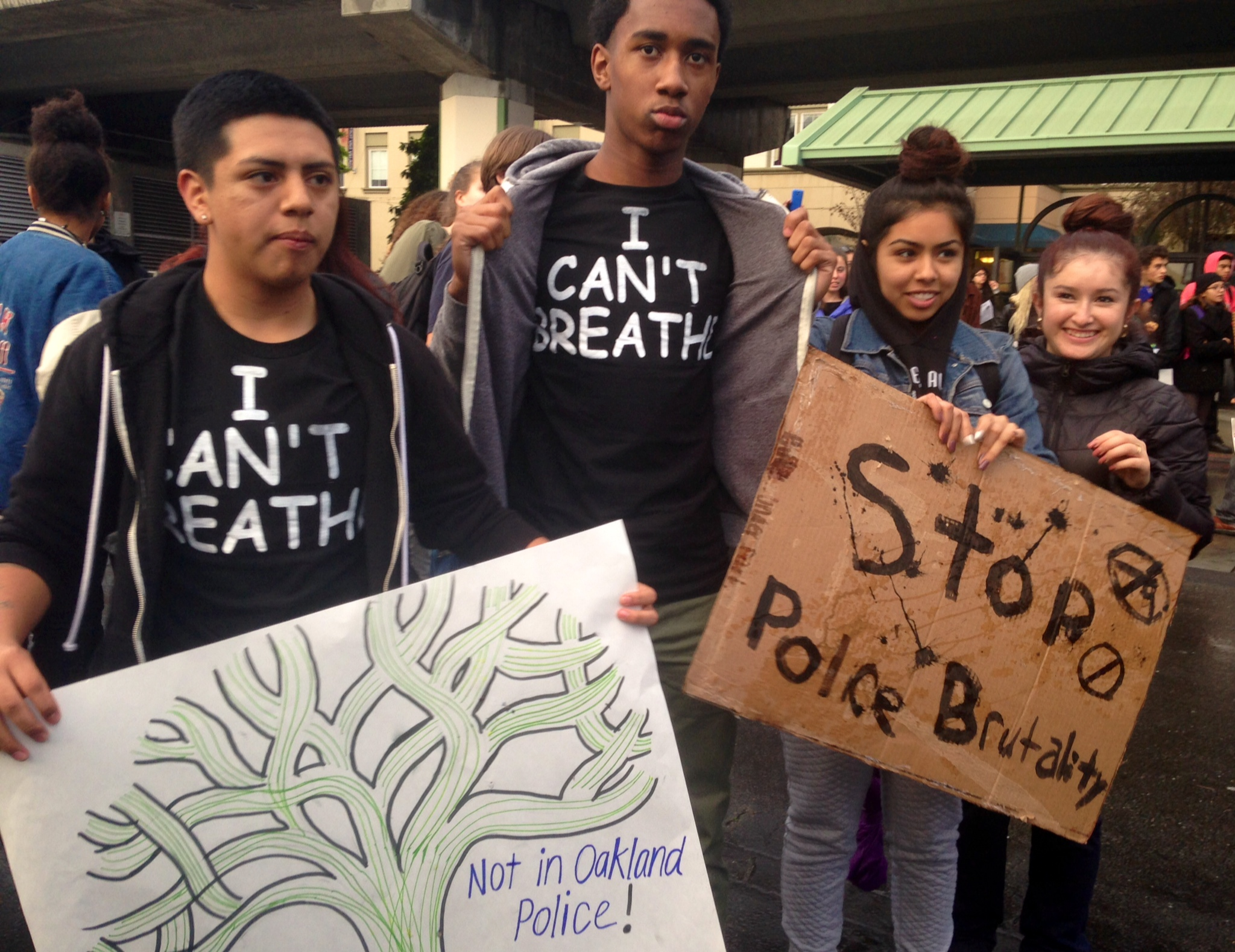 "Life Academy students wearing ""I can't breathe"" t-shirts."
