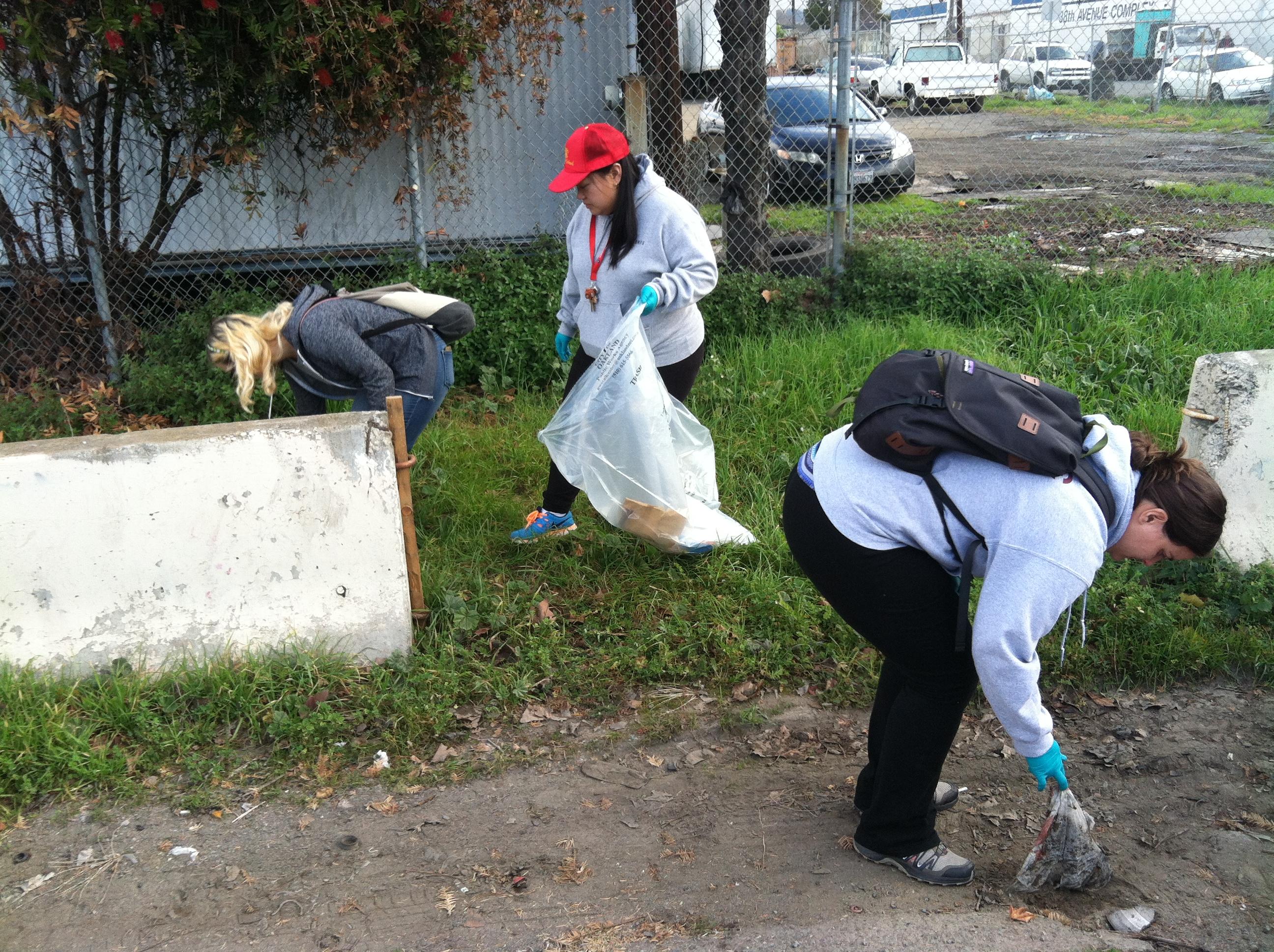 Picking up trash along 88th Avenue