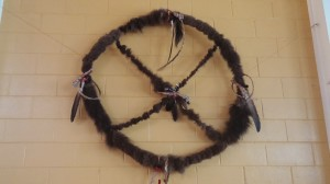 medicine wheel with buffalo hide at IFH
