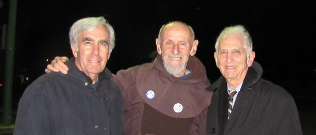 David Krieger, Rev. Louis Vitale, Danel Ellsberg following 2012 arrest at Vandenberg Air Force Base (Photo Credit: Jim Haber)