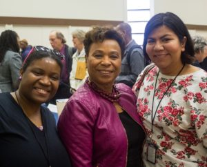 Oakland Voices correspondent Aqueila Lewis, left, Rep. Barbara Lee and Oakland Voices correspondent Rosalinda Hernandez