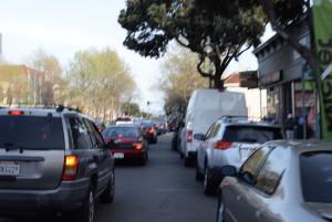 The street narrows