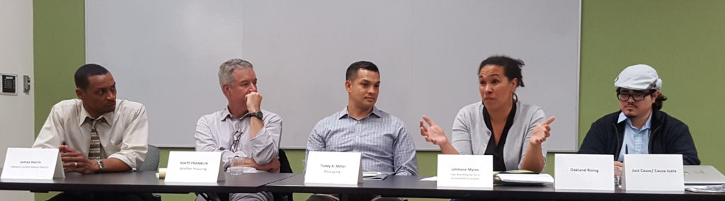 "Panelists at Oakland Voices' forum, ""Focus on Affordable Housing"""