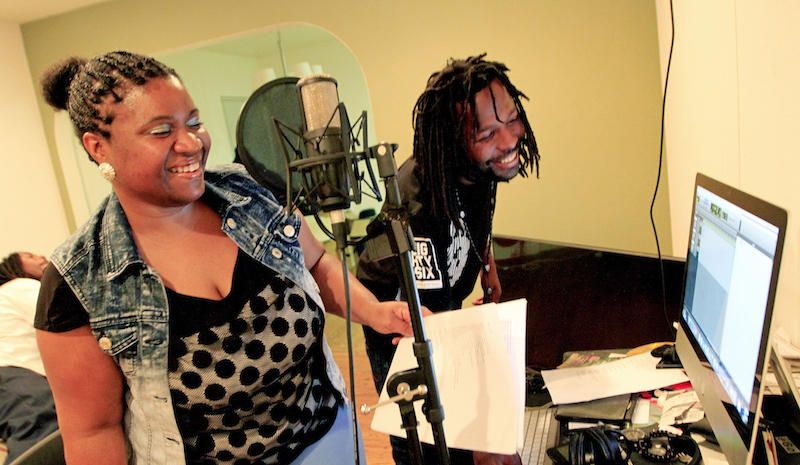 "Aqueila Lewis and Adonis Walker, aka Mr. Birch, work together to record a spoken word piece by Aqueila called ""Whose Gonna Save Them When the Ghosts Live Here Now"" in Oakland, Calif., on Wednesday, March 16, 2016.(Laura A. Oda/Bay Area News Group)"
