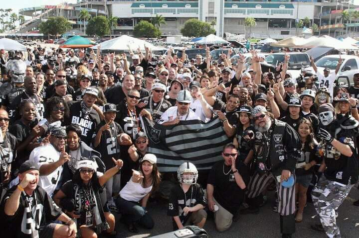 Raider fans tailgating before a game in Miami in 2001. (photo courtesy of C. Chavarria)