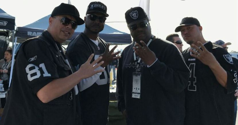 Bret Harte class of 1988 reppin at a pre-game tailgate: Brad Harger, John Jones III, Keith Brown, and Vincent Trujillo. (pic courtesy of John Jones III)