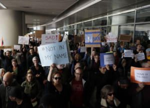 Protesters at SFO 2017.3.10 Source Getty AFP