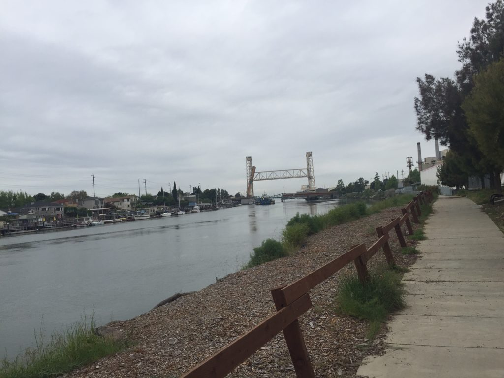 Fruitvale bridge rising to let a barge through