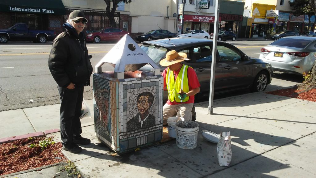 Trash Can Mosaic Art