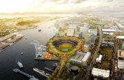 An illustrated image of a baseball park near the waterfront in Oakland, CA.